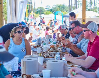 People at Massey's crab feast