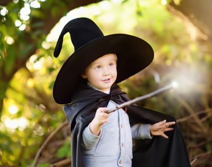 Kids dressed as a wizard