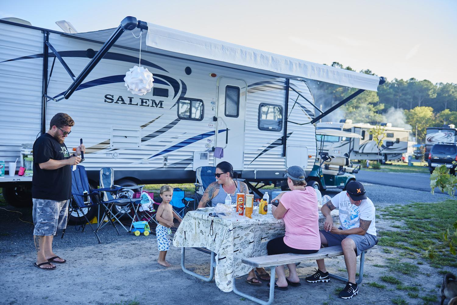 Family enjoying camping at Massey's Landing RV Resort